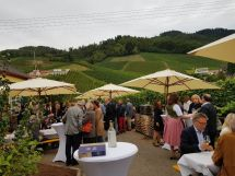 Vernissage-Gäste: Feststimmung vor der Galerie mit dem Weinberg