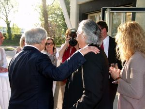 Begrüßung bei der Vernissage v.l.: Hubert Burda, Jutta Spinner, Heinz Morstadt und Stefanie Morstadt