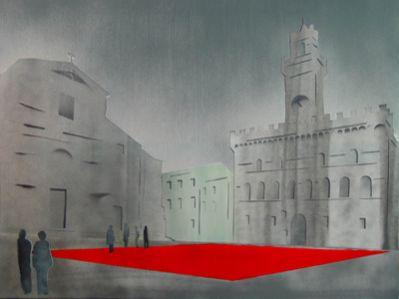 """Heinz Morstadt zeigt sein Werk """"Montepulciano, der rote Platz"""""""