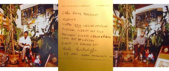 Gemeinsames Objekt zwischen Neuseeland und München, Foto links: Heinz Morstadt   und Foto rechts: Friedensreich Hundertwasser in dessen Wohnung in Wien, 1988